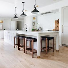 Modern Farmhouse Kitchen Makeover, Neutral Kitchen Design navy cabinets and white kitchen cabinets, white quartz counters, modern neutral kitchen, Kenowa Builders and Jean Stoffer Design Kitchen With Long Island, Kitchen Layouts With Island, Farmhouse Kitchen Island, Kitchen Island Decor, Modern Kitchen Island, Modern Farmhouse Kitchens, New Kitchen, Home Kitchens, Large Kitchen Island Designs