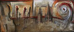 """""""Cremona"""" acrilico e tecnica mista su tela 180x80"""