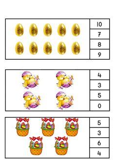 * Tellen, leg een nopje bij het juiste aantal...3-4 Easter Activities For Kids, Kindergarten Math Activities, Preschool Worksheets, Educational Activities, Math Games, Number Crafts, Math Work, Easter Printables, Letters And Numbers