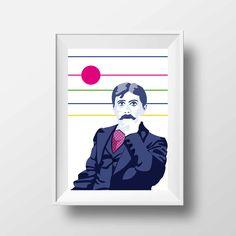 Affiche d'Art Littérature - Poster Illustration Marcel Proust Portrait Style Pop Art Poète Ecrivain Librairie Tirage Art Littéraire