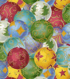 Holiday Inspirations Fabric-Ornaments Metallic