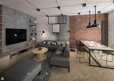 Condo Living, Home Living Room, Living Room Decor, Home Room Design, Dining Room Design, House Design, Loft Stil, Luxury Modern Homes, Faux Brick Walls