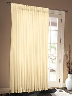 84 in. Insulated Sliding Door Curtains panels) Nobody would guess these curtains are lowering heating and air conditioning bills. Sliding Door Curtains, Tab Top Curtains, Sliding Doors, Insulated Curtains, Heating And Air Conditioning, Save Energy, Window Treatments, Indoor, Room