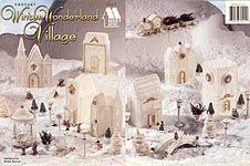 Winter Wonderland Village. Decorative Christmas Holiday Town Crochet Pattern: church, school, post office, clock tower, gazebo, train, house