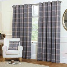 Rapport Grey Natural Highland Plaid Tartan Check Wool Feel Eyelet Curtains