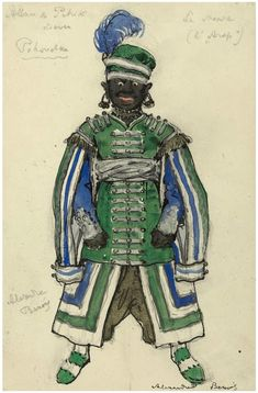 Costume design for The Moor by Alexandre Benois for Petrushka, 1911. Pencil, ink and watercolour, heightened with silver and gold, on paper . 24.8 x 16.5 cm