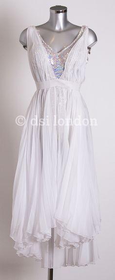 Old Jordan white silver ballroom dress