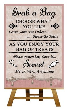 A4 Pink Shabby Chic Vintage Candy Buffet Sweet Cart Poem Wedding Sign Poster