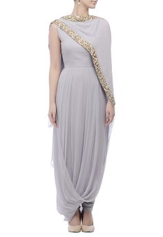 Shop Nidhika Shekhar - Grey & gold-embroidered kurta set Latest Collection Available at Aza Fashions