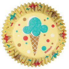 Ice Cream Themed Cupcake Liners by Wilton Yellow Background