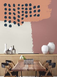 Neutral Abstract Painting Wall Mural Make your mark with this painterly wallpaper design. Distinctive block colours meet carefree paint strokes and loose pattern. Wallpaper Inspiration, Interior Inspiration, Painting Wallpaper, Wall Wallpaper, Painting Walls, Painting Patterns On Walls, Paint Designs For Walls, Hand Painted Walls, Painted Wall Murals