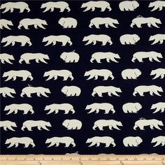 Birch Organic Bear Camp Knit Bear Hike Dusk from @fabricdotcom  Designed by Jay-Cyn for Birch, this interlock knit fabric has a beautiful drape and the extreme softness of this fabric makes it feel heavenly against the skin! It has 25% stretch across the grain which means it moves when you move so it is ultra comfortable. GOTS certified organic cotton. It is perfect for kid's pants, tops, blankets, kids' sleepers, blankets, tops, knit dresses, and T-shirts. Colors include navy and cream.