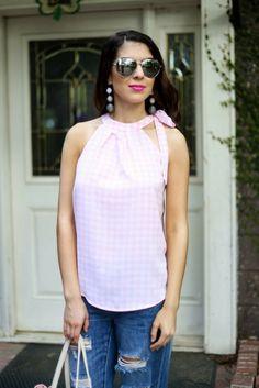 2 Ways To Wear The Cutest Pink Gingham Print Top | Finite 1 | Gingham, Gingham  top, Gingham blouse, Gingham shirt, Spring fashion, Women's fashion