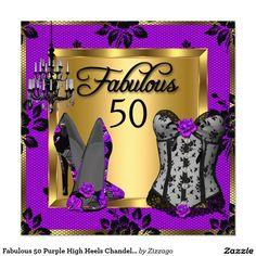 Fabulous 50 Purple High Heels Chandelier Corset 5.25x5.25 Square Paper Invitation Card