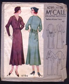 McCall 6789 | 1931 Ladies' & Misses' Dress