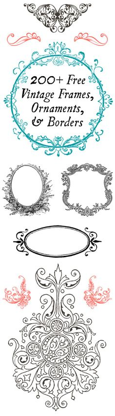 Free Vintage Ornaments, Frames and Borders – Scrap Booking Holy humongous round-up Batman! You'll never want for vintage ornaments frames and borders again, after you check out this amazing round up of 200 free images! I even see a couple Christmas i… Decoupage, Etiquette Vintage, Graphics Fairy, Vintage Frames, Vintage Prints, Vintage Clip Art, Vintage Stuff, Creation Deco, Paper Crafts