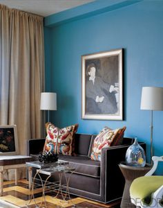 Regency Redux living room in Cornflower Blue, Charcoal Grey