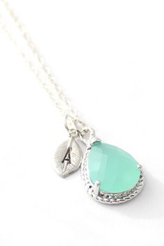 Mint Opal Necklace With initial