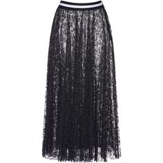 Marco de Vincenzo Pleated Lace Skirt ($1,660) ❤ liked on Polyvore featuring skirts, black, pleated a line skirt, pleated lace skirt, msgm, pleated skirt and msgm skirt