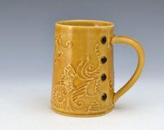 Big Coffee Mug Paisley Pattern, tea cup, tea mug, Buttons READY TO SHIP