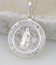 Sterling Silver Our Lady of Guadalupe Medal wth by Alyssasdreams