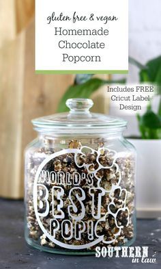 Recipe: Homemade Chocolate Covered Popcorn A Free Cricut Father's Day Printable Sugar Free Chocolate, Homemade Chocolate, Gluten Free Baking, Vegan Gluten Free, Dairy Free, Sin Gluten, Gluten Free Popcorn, Chocolate Covered Popcorn, Paleo Treats
