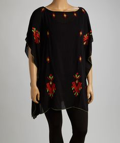 Black Tribal Embroidered Cape-Sleeve Tunic - Plus   zulily-size 14 -20, 14.99