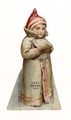 Lion Coffee Die Cut Paper Doll 1890's Winter Child in The Snow | eBay