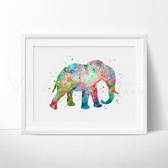 Elephant Animal Nursery Art Print Wall Decor