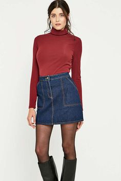 Urban Outfitters Ribbed Solid Turtleneck Top - Urban Outfitters
