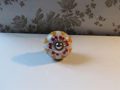 Multi Coloured Heart Design Hand Painted Ceramic Knob for Cupboard / Drawer / Cabinet / Dresser