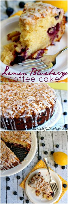The most amazing coffee cake!  Loaded with lemon flavor, and packed with blueberries, its the perfect breakfast or brunch treat! #Delightfulemade #Coffecake #Mothersdaybrunch