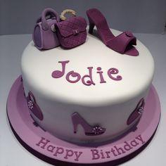 Birthday cake for a someone who loves handbags & shoes 60th Birthday Cake For Ladies, 60th Birthday Cakes, Cupcake Birthday Cake, Cupcake Cakes, Birthday Ideas, Fondant Girl, Make Up Cake, Cake Making, 18th Cake