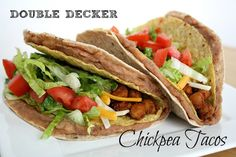 Double Decker Chickpea Tacos Yum! It's like a Cheesy Gordita Crunch from Taco Bell.