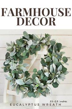 Lamb's Ear and Eucalyptus Wreath, Greenery Wreath, Eucalyptus Wreath, Farmhouse Wreath, Faux Greenery Wreath, Year Round Wreath #affiliate #farmhousedecor #homedecor