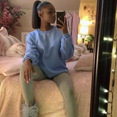 You do things… Baddie Outfits For School, Dope Outfits, Fall Outfits, Casual Outfits, Fashion Outfits, Baddie Hairstyles, Black Girls Hairstyles, Ponytail Hairstyles, School Hairstyles
