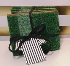 Football Coaster Astro Turf Coasters Set by LilSouthernSassGifts