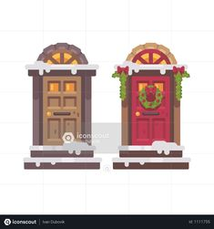 Two Winter Doors Illustration Photo Book, Photo Art, Game Museum, Red Armchair, Cute Little Kittens, Sleeping Kitten, Letters For Kids, Simple Icon, Christmas Characters