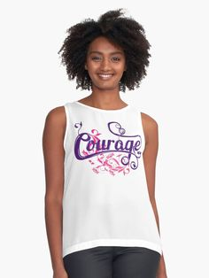 If you are a fan of pretty colors and unique decorative prints then you will love our Girly Playful and Motivational Courage is Courageous Print. Perfect for home decor and fashion. Pretty Shirts, Cute Tshirts, Blouses For Women, Women's Blouses, Casual T Shirts, Girly, Motivational, Quote, Fan