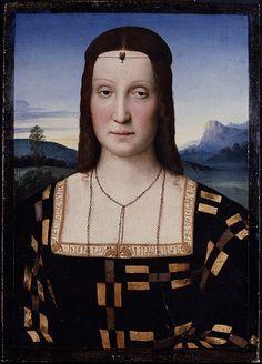 Ritratto Elisabetta Gonzaga Autore:Raffaello Sanzio Data:1504-1505 circa Dove-originariamente:Palazzo Ducale Urbino Dove-attualmente:Gallerie degli Uffizi Firenze