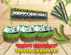 Mine Themed Cupcake Topper Wrappers Happy Birthday by Pixland
