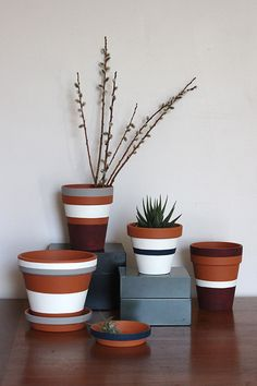Striped Flower and Plant Pots (Photos © Steph Hung) Stripes may never go out of style, but sometimes they seem to undergo a resurgence of sorts. Inspired by the incredible Steven Alan collaboration with West Elm, cra. Painted Plant Pots, Painted Flower Pots, Painting Terracotta Pots, Terracotta Plant Pots, Decorated Flower Pots, Painted Pebbles, Clay Pot Crafts, Flower Pot Crafts, Clay Pots