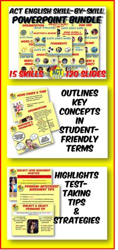 LOVE the eye-catching visuals in these PowerPoints! Outlines key ACT English skills with student-friendly tips and strategies. A handy resource!