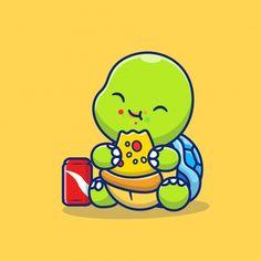 Cute turtle eating pizza with soda carto... | Premium Vector #Freepik #vector #food #cartoon #pizza #animals Crab Cartoon, Moon Cartoon, Cartoon Icons, Cartoon Styles, Cute Turtle Cartoon, Cute Cartoon Animals, Funny Phone Wallpaper, Animal Wallpaper, Animated Disney Characters