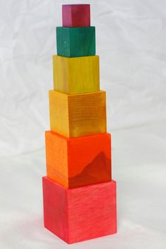 Montessori inspired rainbow block tower by TheLittlestLearners, $17.00