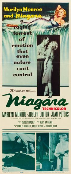 """Niagara"". Starring Marilyn Monroe and Joseph Cotten. US Insert Movie Poster, 1953."