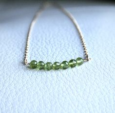 Gold Peridot Beaded Necklace  August birthstone by StudioGoods, $26.00