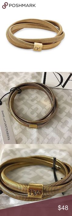 """JUST IN! DVF ITS A WRAP BRACELET Simple yet sophisticated, feminine and elegant, this bracelet is perfect for day-to-night wear. In gold plated brass. Slip on style. Just can't think of a place you wouldn't want to wear this lovely slinky snake chain bracelet in an interlocked design. No doubt, will always add that chic finishing touch to any ensemble. +Gold-tone +Length, 8"""" +Slip-on  #Party #Wedding #Office #Luncheon   Bundle Discount ^ No Trades ^ Make Offers Thur Offer Button ^ Have a…"""