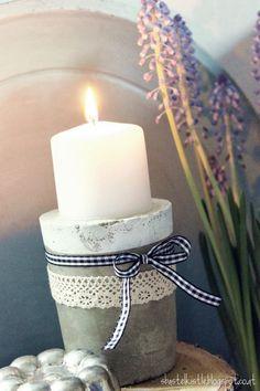 DIY concrete candle holder - Farah's Secret World Concrete Bowl, Concrete Art, Concrete Crafts, Concrete Projects, Concrete Candle Holders, Beton Diy, Candle Stand, Diy For Kids, Chandeliers