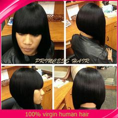 Online Shop Wholesale Cheap ! Short Woman Hair wigs with bangs 200% Density Glueless Virgin Brazilian Lace Front Bob Wigs For Black Women|Aliexpress Mobile